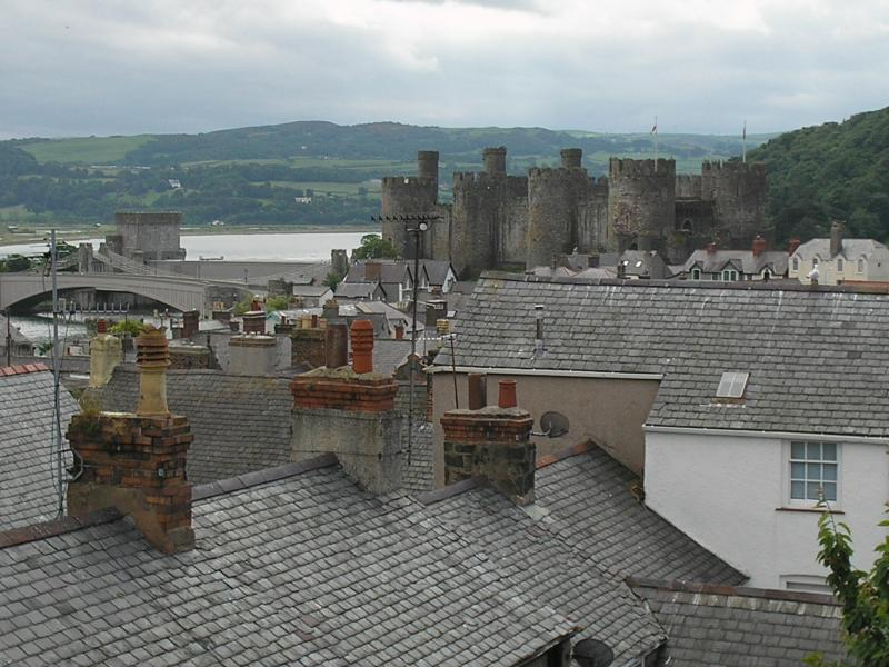 View from top room across roof tops to castle and river