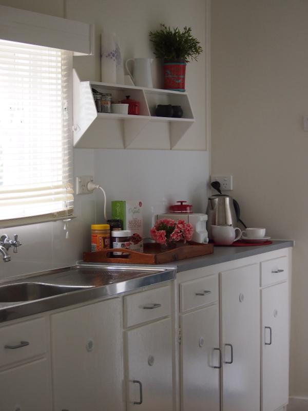 Kitchenette with fridge, microwave, and toast/tea/coffee making facilities
