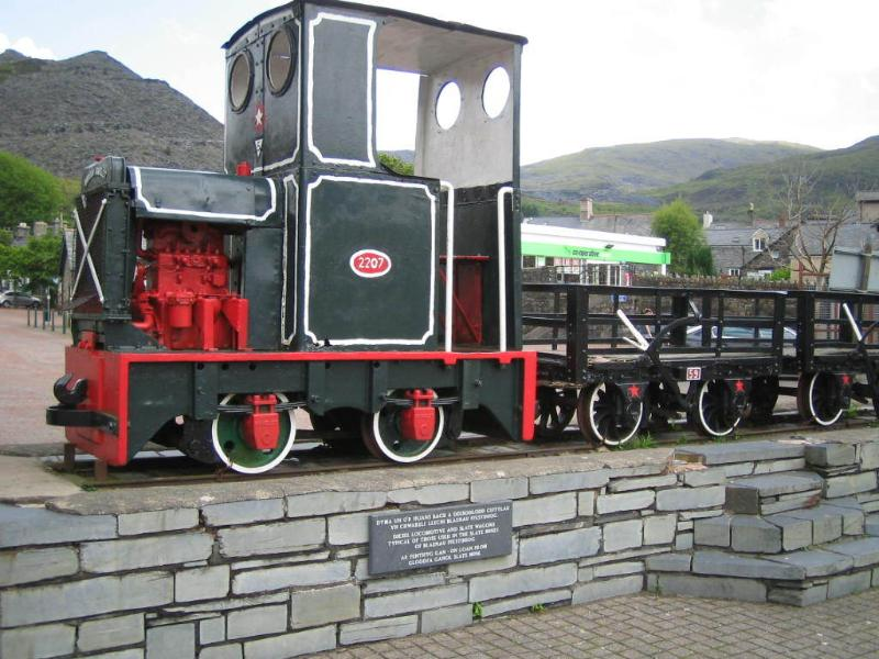 Slate locomotive on display in Blaenau Ffestiniog
