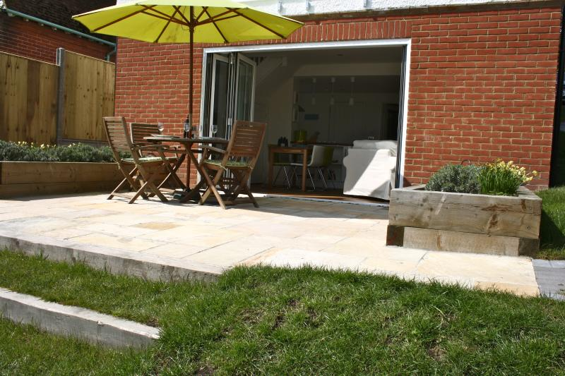 Secluded south facing patio for al fresco dining