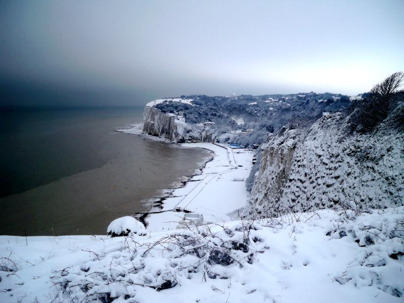 The beach clothed in snow