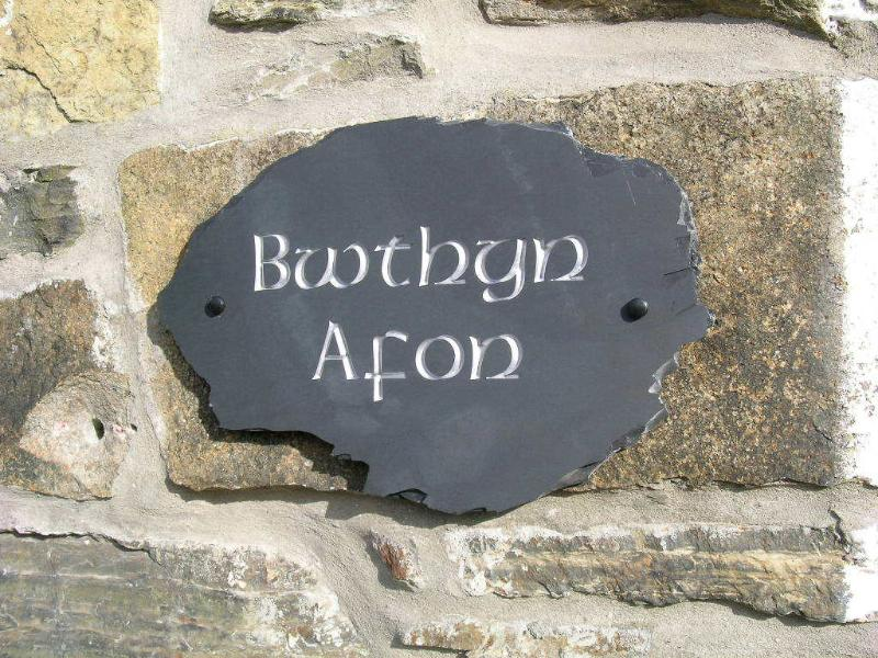 Bwthyn Afon nameplate made locally using only the best Welsh slate!