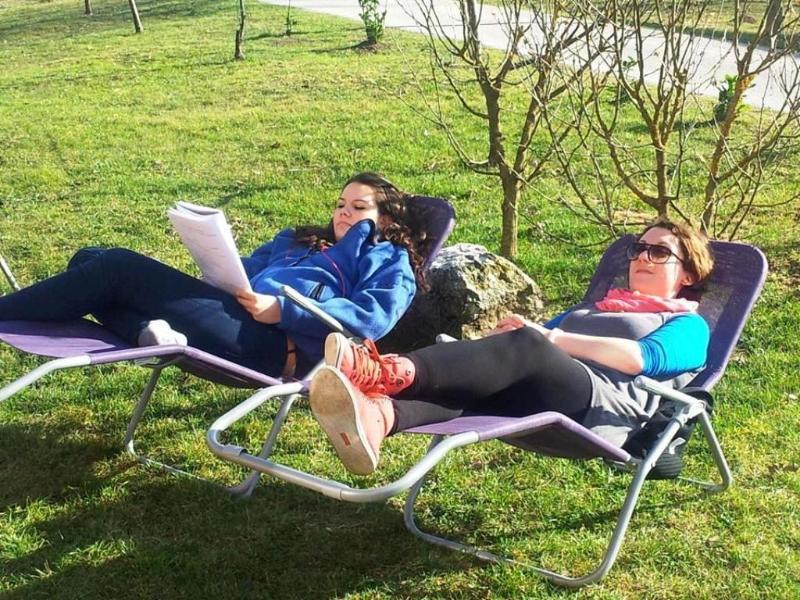garden deckchairs