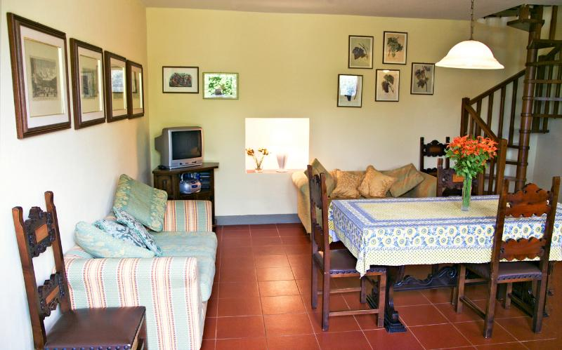Dining/sitting/kitchen area, double divans, T.V. Sat receives BBC and CNN, CD player, books