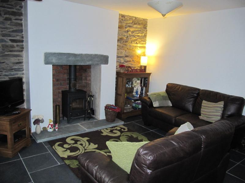 Roomy lounge, but cosy and warm with a log burner
