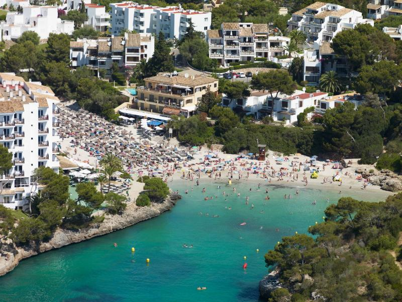A general view of Cala Ferrera beach, our apartments in the middle