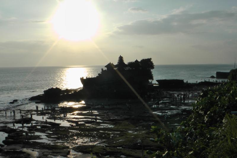 Tanhah Lot temple sunset in Bali is a ten minute walk from the apartment
