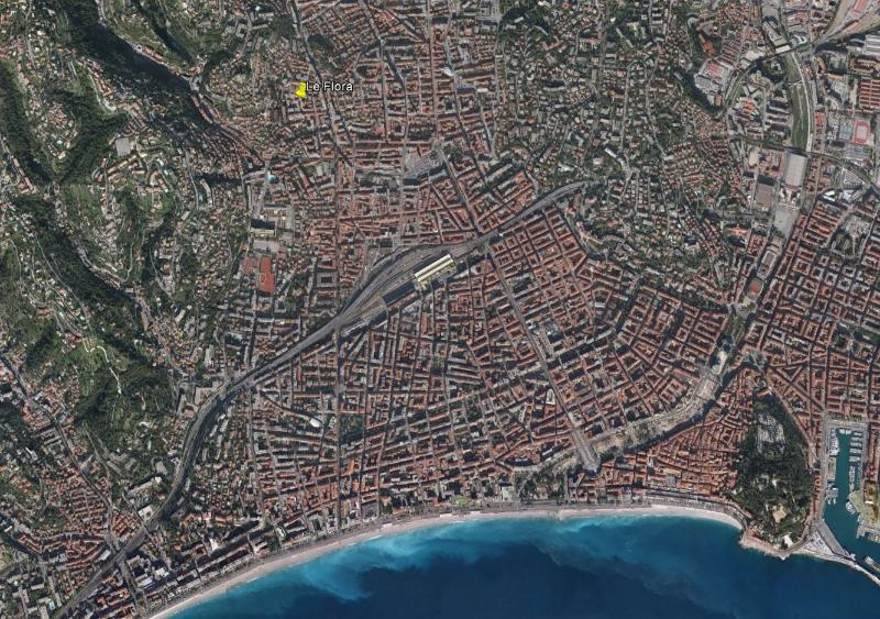 Aerial view of Nice - The marker is where the flat is