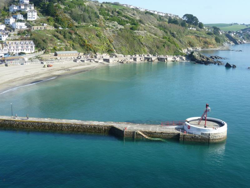 Beautiful view of Looe beach from the apartment.