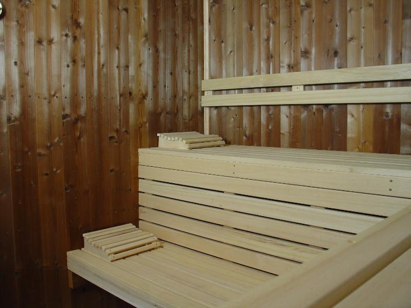 The sauna located in the pool house