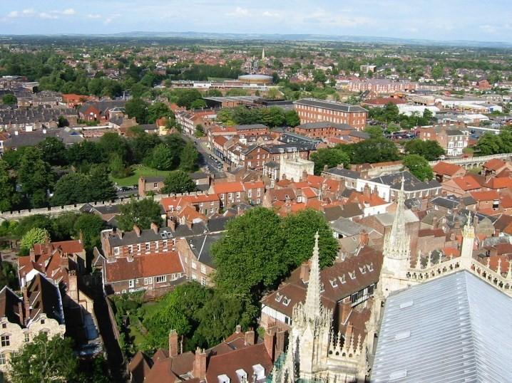 County House from York Minster Roof, only a 4 minute walk to the Minster