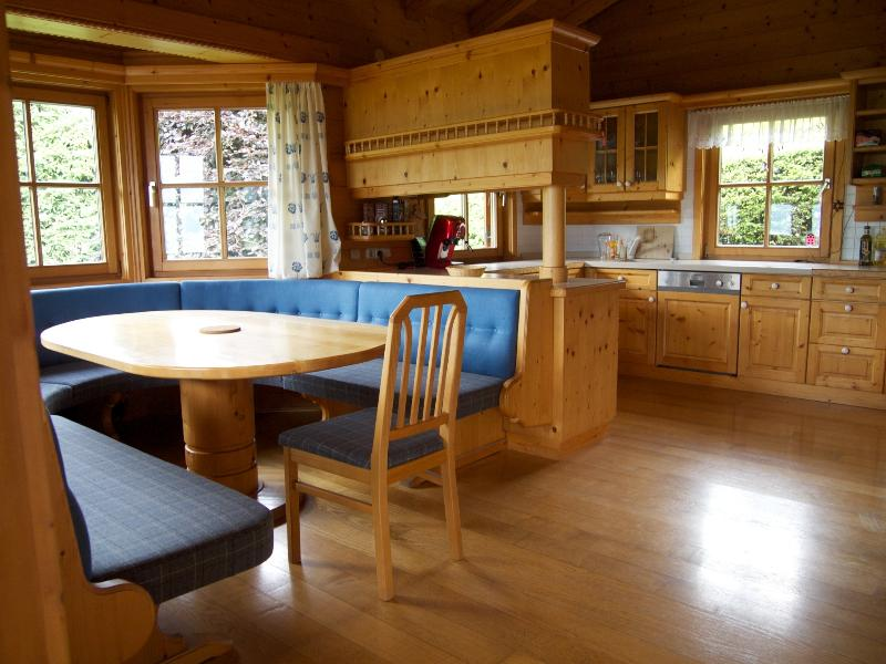 The dining area and kitchen
