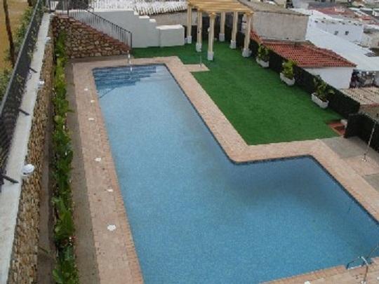 Balcony view of swimming pool