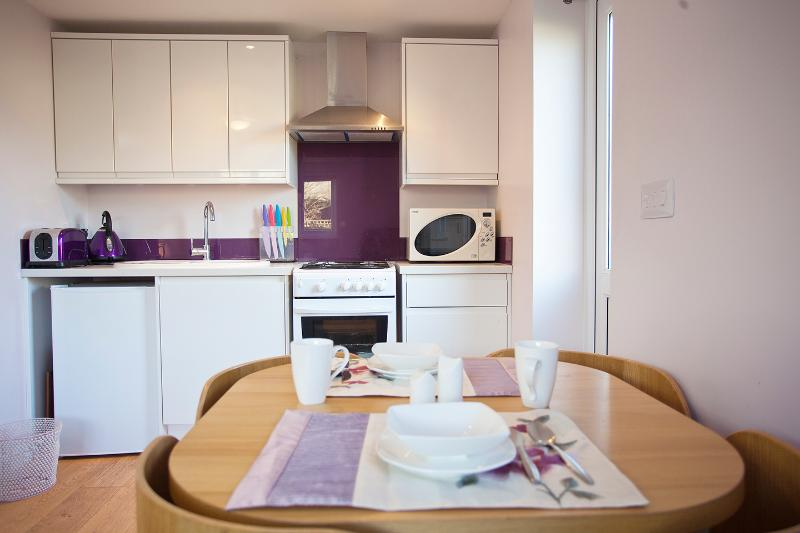 Studio flat has a fully fitted kitchen.