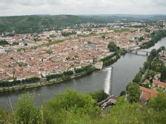 View to Cahors old town from viewpoint