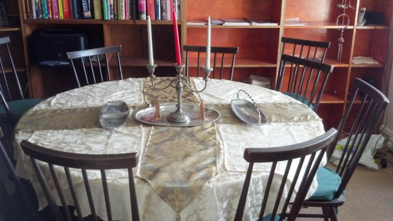 Dining table in library
