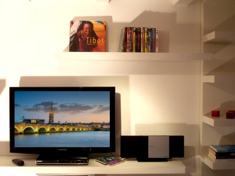 Flat-screen TV and  Panasonic stereo