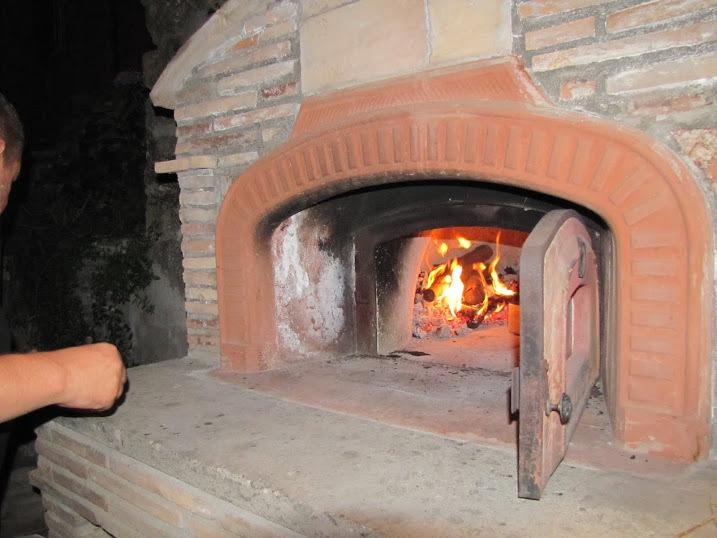 Wood fired oven in action