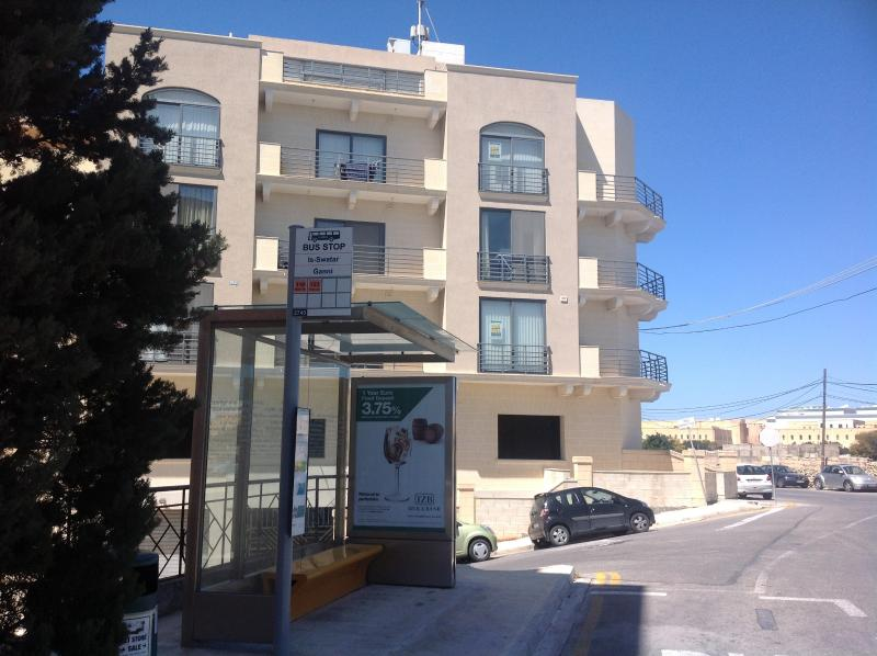 Bus stop conveniently located just outside the apartment with hourly trips to Valletta and Sliema