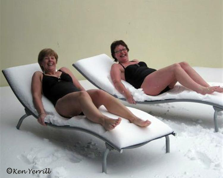 Guests sunbathing in snow late December then in to the Hot Tub - good for you?