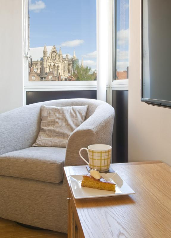 Corner window with Minster Views and swivel chair