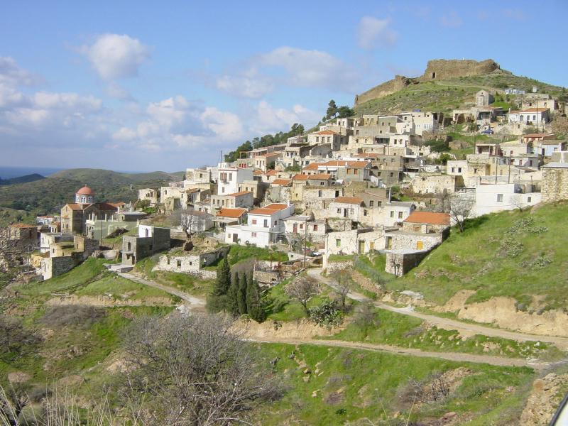 A view of the Village of Volissos and its Genoese Castle