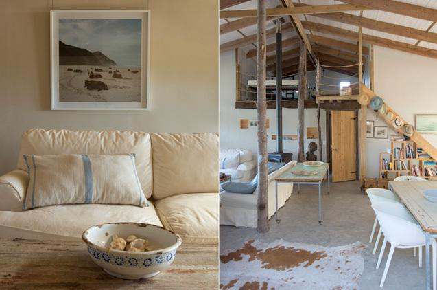 BEACH CABIN LIFESTYLE: Large open plan living area with sea facing patio and outdoor braai area