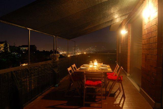The terrace at night overlooking the Golfo dei Poeti