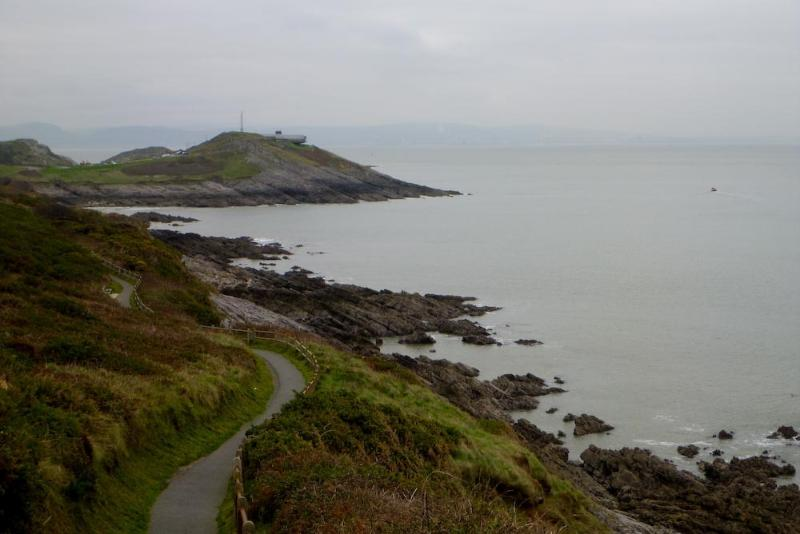The cliff path from Langland bay to Mumbles.
