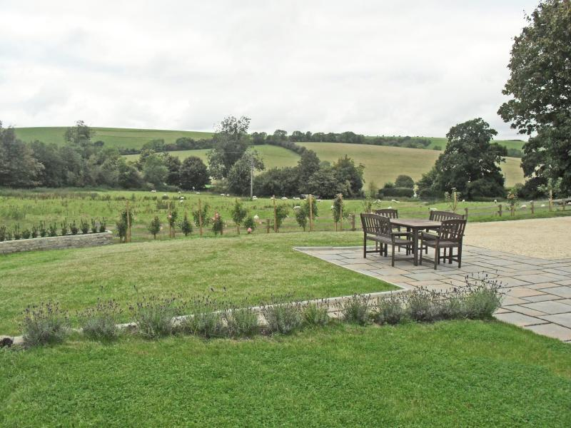 Outside Terrace in Private Garden with stunning views over local countryside