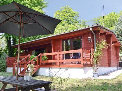 genuine cedar-wood log cabin  FRONT VIEW