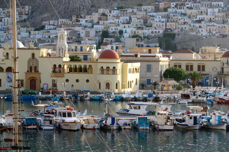 Porthia (The main Port) on Kalymnos Island