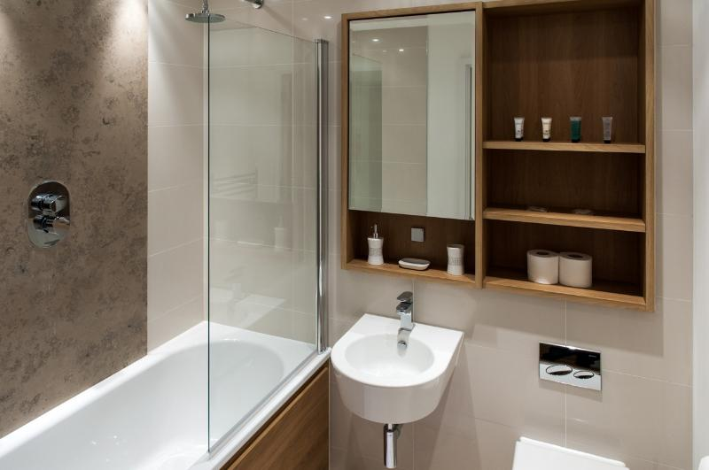 Designer bathroom with shower
