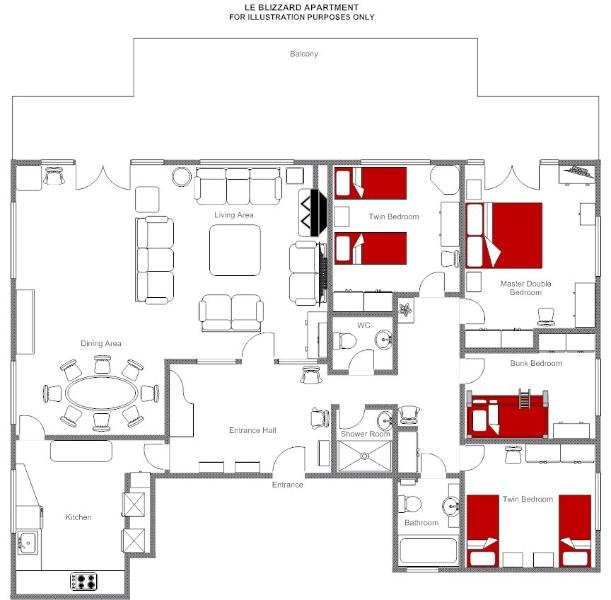 Floor Plan Layout 145m2, including the balcony