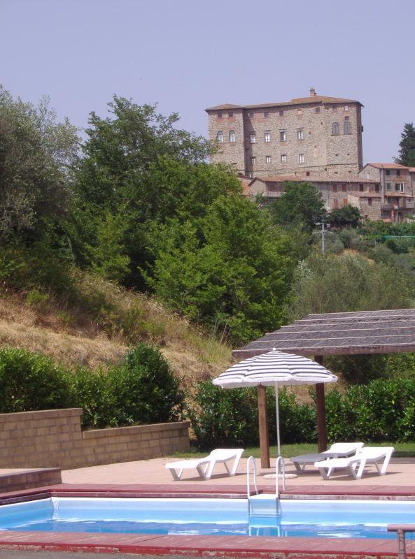 The private Swimming Pool and Borgo di Carnaiola Castle
