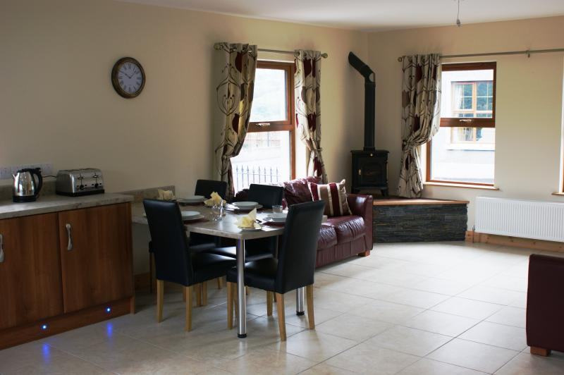 Dining/living/stove area