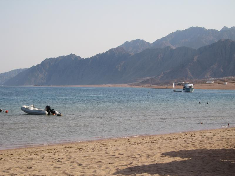 The main sandy beach has sunloungers for rent and is a perfect place to relax.