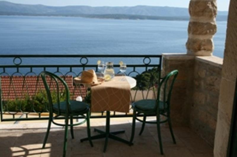 Terrace of apartment Marijana with sea sight and direct view on Hvar