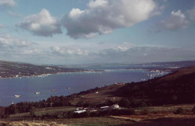 The Gare Loch from the top of the Rosneath Peninsula, Clynder is on the right with the yachts.