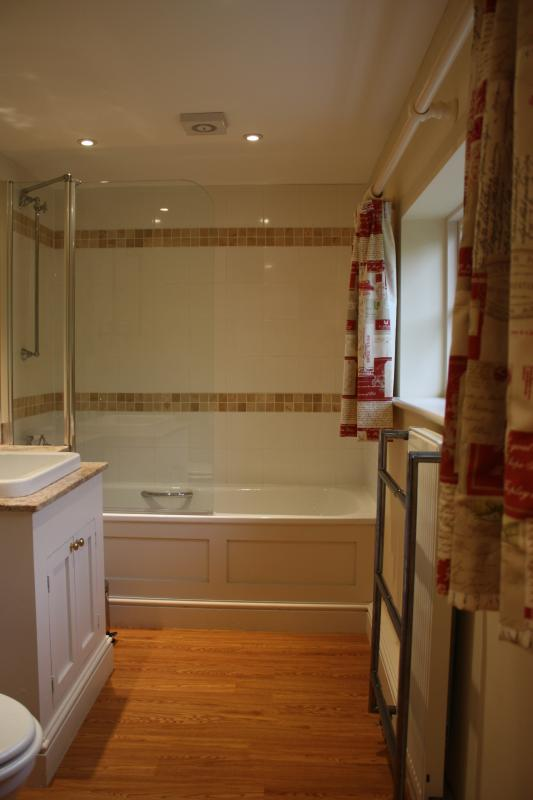 The bathroom is downstairs and has bath and a shower.