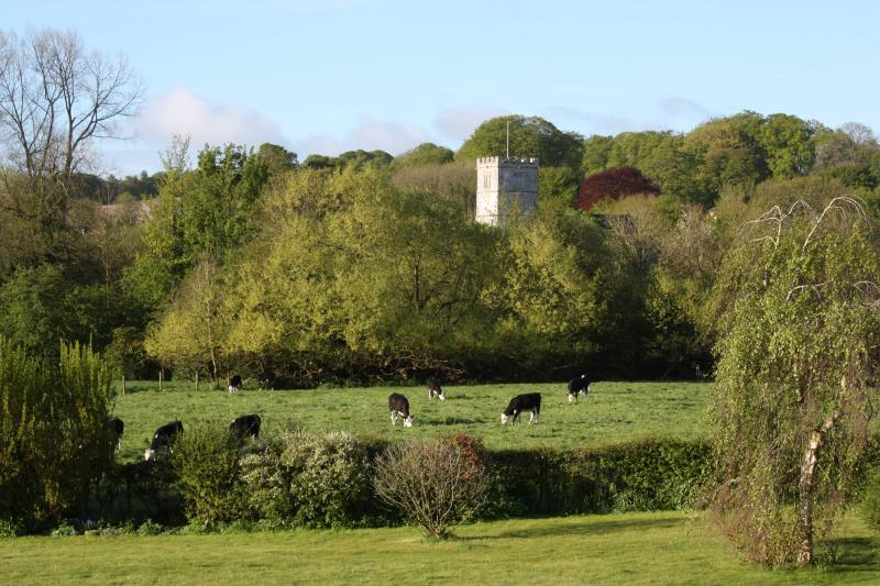 Views of the meadow, River Ebble and Church beyond from the first floor bedroom.