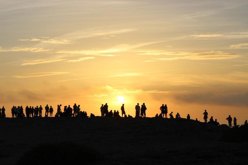 De zonsondergang op het 'einde van de wereld' of 'O Fim de Mundo'