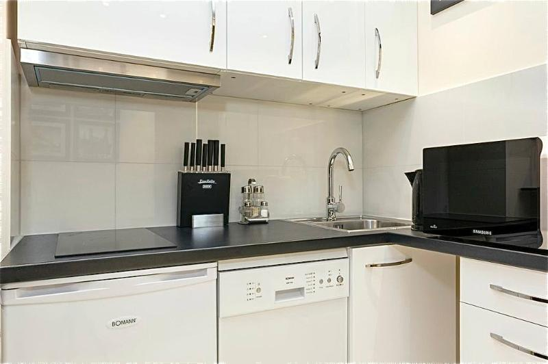 ceramic hob and extractor hood, fridge, dishwasher, kettle, toaster and coffee maker