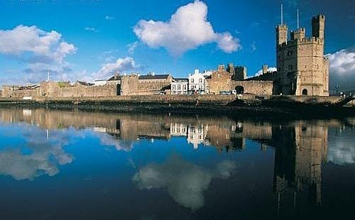 The castle town of Caernarfon has one of the highest percentages of Welsh speakers throughout Wales.