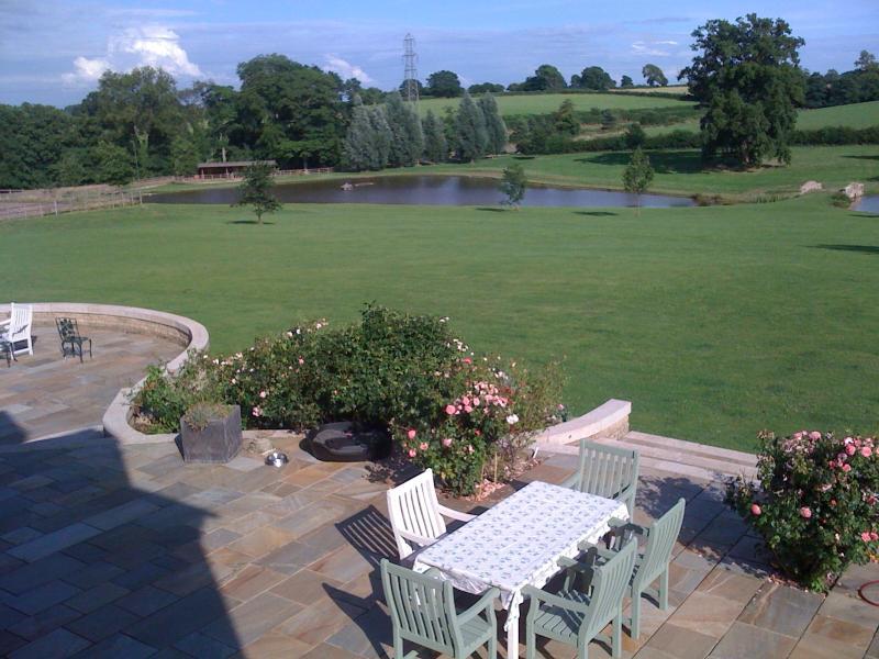 View across patio towards the lake.