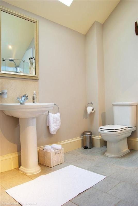 The main bathroom with bath, shower and toilet.