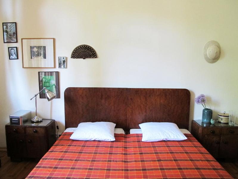 One of our guest rooms, perfectly suited for two with king size bed. Light bedroom & has a balco