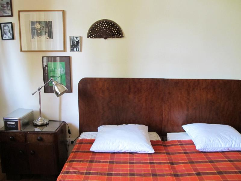 One of our guest rooms, perfectly suited for two. Has a balcony (comfortable for smokers)