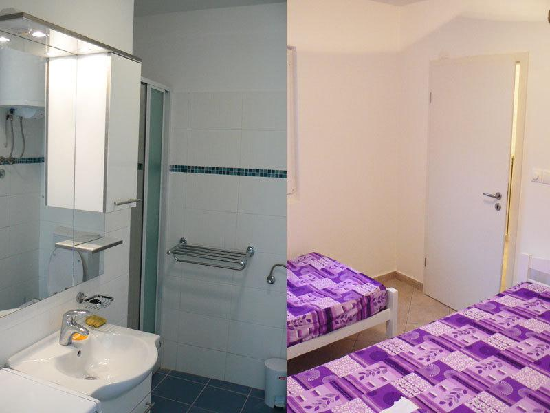 bathroom/bedroom with two beds
