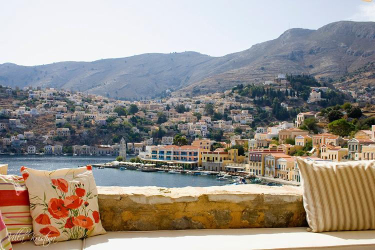 View of Symi harbour from the terrace